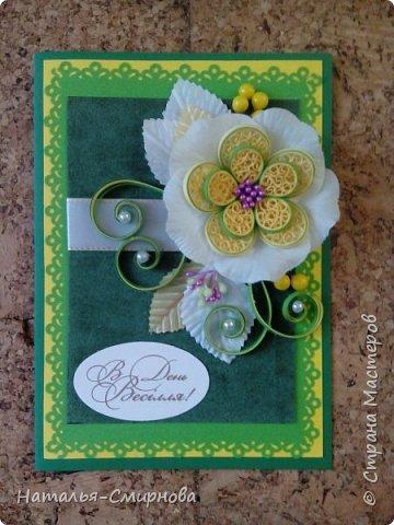 Добрый день! Представляю вам свои новые открыточки. Данную работу сделала на свадьбу в желто-зеленых тонах фото 1