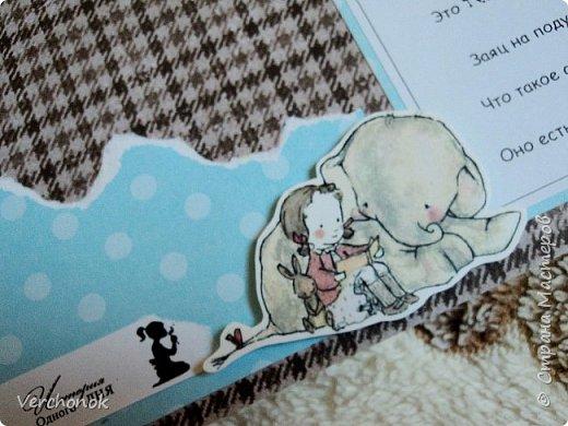 Альбом для малыша с милыми акварельными слониками) Формат 21*24 см, 7 разворотов, вмещает около 40 фото, есть места для записей. Альбом украшен замечательными стихами и картинками. фото 25