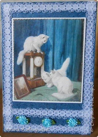 Ещё 3 открытки из жизни кошек. Отделка кружево. Прострочка. фото 1