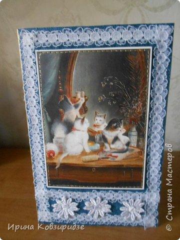 Ещё 3 открытки из жизни кошек. Отделка кружево. Прострочка. фото 9