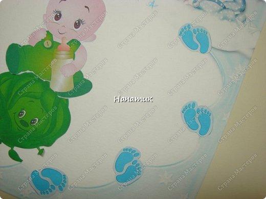 Добрый вечер! Алина сделала такую открытку в честь рождения своего двоюродного братика!!! Вот такой малыш в капусте) Нашла в инете рамочку. Ниже выложу её. фото 4