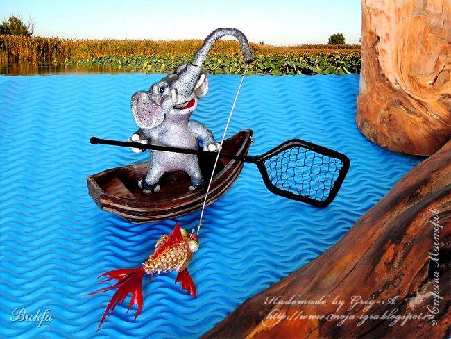 """Слон есть самое большое животное из всех живущих на земле.  У него на рыле есть большой кусок мяса, который называется хоботом потому,  что он пуст и протянут, как труба. Он его вытягивает и сгибает всякими образами. А и употребляет его вместо руки.  Стругацкие Аркадий и Борис. """"Понедельник начинается в субботу""""  ----------------------------------------------------------------------------------------------------- Всем большо-о-ой привет! Такой большой, как слон! Вот он - слон! Большой-пребольшой! Мало этого, ведь у него большие уши, большой живот, большие ноги и длинный хобот! И он, наш слон, употребляет этот свой хобот не только вместо руки, как у Стругацких (см. эпиграф), но и вместо удочки! Да-да! Вместо удочки! Вот смотрите: отплыл наш слоняш на лодочке не далеко так от берега реки, забросил хобот-удочку под какую-то корягу, рыбачит в тишине, философствует, наверное, потихонечку."""