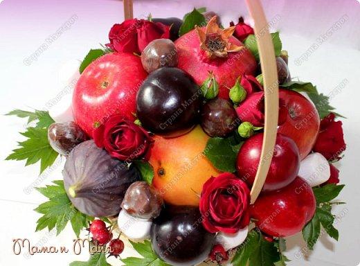 С днем Воспитателя и наступающим днем Учителя! В составе яблоки, инжир, красное манго, красные и черные сливы, гранат, чернослив в шоколаде, маршмеллоу (зефир), розы, боярышник фото 2