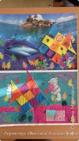 """Ребята 3 """"А"""" класса  учились переплетению полосок цветной бумаги . Получились  вот такие красавицы рыбки!  Придумывали  фантастические истории  со сказочными рыбками. Рыбка, которая познакомилась с акулой фото 26"""