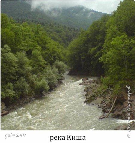 Описание местности. Примерно на середине дороги от пос. Хамышки до пос. Гузерипль республики Адыгея сливаются два мощных горных потока. Это  нижнем течении река Киша, загибаясь на запад, впадает в реку Белая.  фото 8