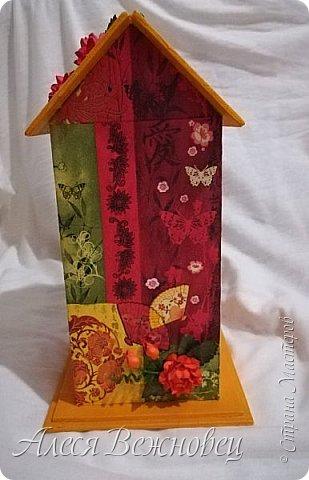 Чайный домик для подружки с изображением японочки).Цветы из акварельной бумаги, раскрашены акриловыми красками. фото 4