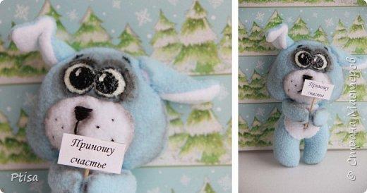 Первый раз рисовала игрушке глаза)) Но уж сильно хотелось чего то милого, и родился вот такой голубой щенок)))  фото 1