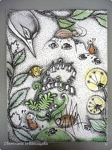 """Всем нам с детства знакома сказка Виталия Бианки """"Как муравьишка домой спешил"""", а насколько чудесный мультфильм снятый по этой сказке. По нему и родилась идея триптиха. Размер готовой работы 40 на 90 см. Работу выполняли в точечной технике предварительно сделав цветную подкладку акварельными красками. фото 3"""