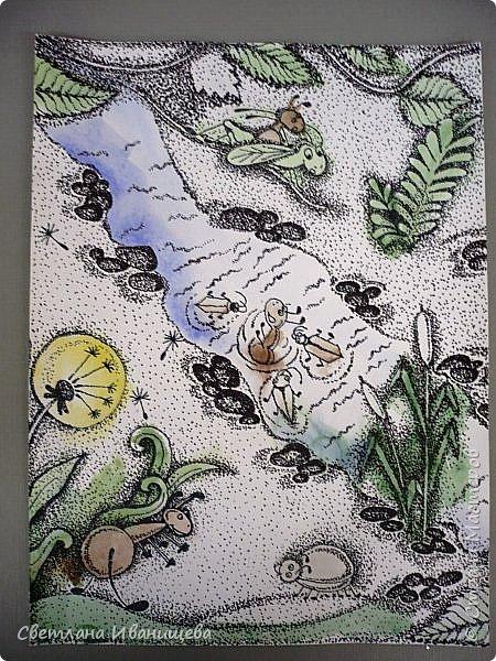 """Всем нам с детства знакома сказка Виталия Бианки """"Как муравьишка домой спешил"""", а насколько чудесный мультфильм снятый по этой сказке. По нему и родилась идея триптиха. Размер готовой работы 40 на 90 см. Работу выполняли в точечной технике предварительно сделав цветную подкладку акварельными красками. фото 4"""