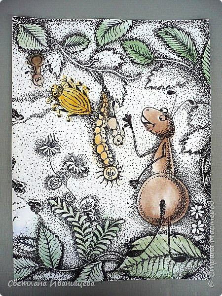"""Всем нам с детства знакома сказка Виталия Бианки """"Как муравьишка домой спешил"""", а насколько чудесный мультфильм снятый по этой сказке. По нему и родилась идея триптиха. Размер готовой работы 40 на 90 см. Работу выполняли в точечной технике предварительно сделав цветную подкладку акварельными красками. фото 5"""