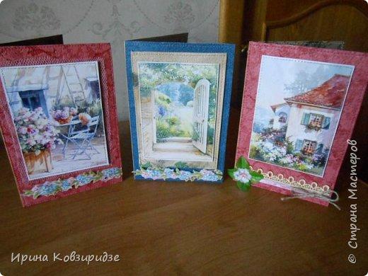 """Три открытки """"Утро Прованса"""". Картинки- распечатка на лазерном принтере. Прошивка люрексом. Кружева, лента, тюль, наклейки. фото 1"""