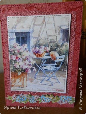 """Три открытки """"Утро Прованса"""". Картинки- распечатка на лазерном принтере. Прошивка люрексом. Кружева, лента, тюль, наклейки. фото 9"""
