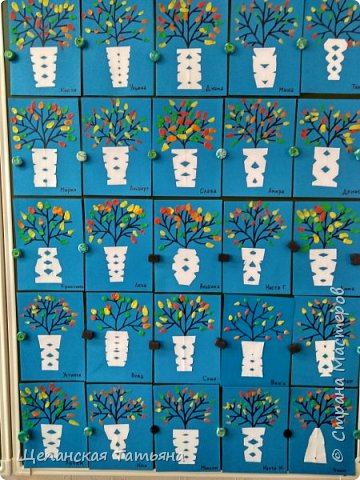 """Это дебют с моими """"новоприобретенными"""" первоклашками. Веточки нарисовала я маркером на картоне, а все остальное делали сами: вырезали из бумаги вазу, а листики размазывали пластилином. фото 2"""