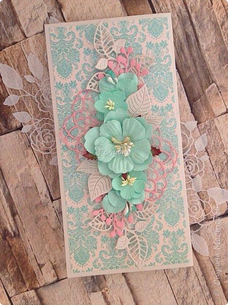 """Вот еще партия открыток, которые не показывала:)  Мне кажется, что у многих производителей есть бумага """"Дамаск базовая"""", но вот у MONA design, она мне нравится больше всего:)  Работаю с ней не первый раз. Она в меру яркая и в любом цвете нарядная.  Представляю красную и бирюзовую:) фото 8"""
