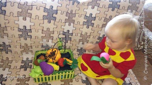 Для своей дочурки я сшила вот такой мини-огородик.  Там есть тыква, баклажан, помидор, огурец, капуста, кукуруза, свекла, картошка, морковка. фото 4