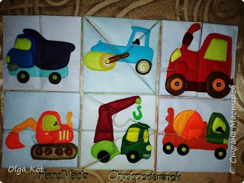 Пазлы выполнены на заказ для маленького мальчика 2 лет. Самосвал, каток, трактор,экскаватор, кран, бетономешалка. фото 1