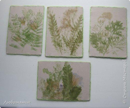 """Всем большущий привет! Представляю вам очередную серию АТС карточек """"Зелёные силуэты"""".  Техника оттиск (отпечаток) растений на ткани. Идею я  увидела в интеренете  Можете выбирать понравившуюся карточку, но хочу предупредить, тем кому я должна АТС карточки будет отдаваться приоритет.  фото 1"""