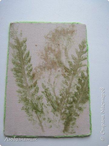 """Всем большущий привет! Представляю вам очередную серию АТС карточек """"Зелёные силуэты"""".  Техника оттиск (отпечаток) растений на ткани. Идею я  увидела в интеренете  Можете выбирать понравившуюся карточку, но хочу предупредить, тем кому я должна АТС карточки будет отдаваться приоритет.  фото 2"""