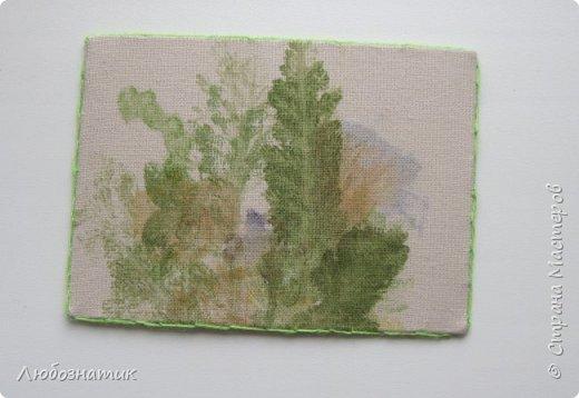 """Всем большущий привет! Представляю вам очередную серию АТС карточек """"Зелёные силуэты"""".  Техника оттиск (отпечаток) растений на ткани. Идею я  увидела в интеренете  Можете выбирать понравившуюся карточку, но хочу предупредить, тем кому я должна АТС карточки будет отдаваться приоритет.  фото 14"""