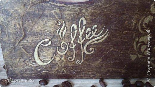 """Здравствуйте! Моя работа, панно """"Время кофе"""", выполнена на холсте. Использовала декупажную карту, акриловые краски, трафарет, шпаклевку. Сделано в подарок. фото 2"""
