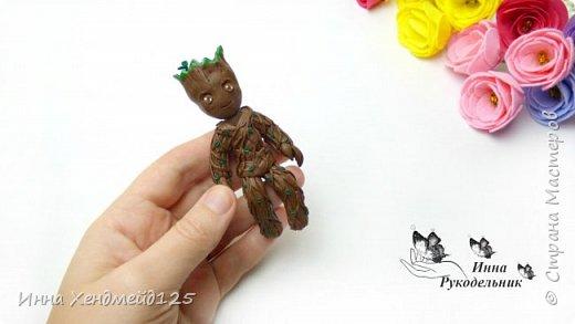 Посмотрела фильм Стражи галактики 2 и очень захотела сделать милого персонажа Грута из полимерной глины.  Материалы: проволока, фольга, полимерная глина.  Детальный процесс работы в видео. фото 5