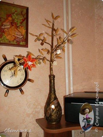 Хотела сделать денежное дерево, но необычное. Посмотрела в интернете работы мастеров. Бутылку сделала наподобие тех, что сделаны у многих. А вместо дерева решила сделать цветущую денежную веточку. Вот что получилось фото 1