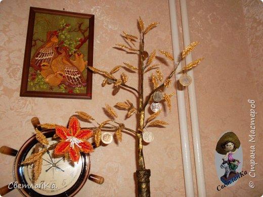 Хотела сделать денежное дерево, но необычное. Посмотрела в интернете работы мастеров. Бутылку сделала наподобие тех, что сделаны у многих. А вместо дерева решила сделать цветущую денежную веточку. Вот что получилось фото 2