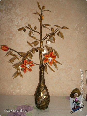 Хотела сделать денежное дерево, но необычное. Посмотрела в интернете работы мастеров. Бутылку сделала наподобие тех, что сделаны у многих. А вместо дерева решила сделать цветущую денежную веточку. Вот что получилось фото 4