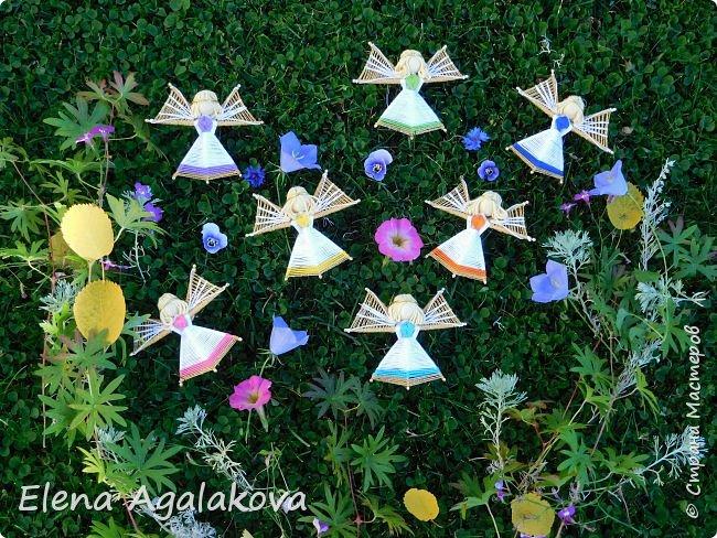 Добрый день ! Я снова плету маленьких ангелочков, они сплетены из ниток на бамбуковых зубочистках. Размером с ладошку. Всех цветов радуги...  фото 7