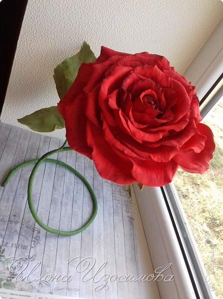 настольная роза из фоамирана,высота 29 см,диаметр 18 см фото 2