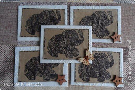 """Всем привет жителям Страны Мастеров!Сегодня я к вам с новыми карточками  АТС """"Дудлинг.Африканские слоны"""".Большой интерес к карточкам меня привлёк Дудлинг,впервые я заметила на АТС у Ирины.И тоже очень захотелось попробовать,а совсем не давно Оля выложила свою серию использовав ту же техник.Все рисуночки нарисовала за вечер.Был у меня шаблон слоника,а потом начала наносить узоры.Все узоры думала сама,сначала на листочках,а потом наносила на карточки.Основа пергаметная бумага,а саму карточку обклеила тканью с фактурными цветочками.Очень надеюсь,что вам понравятся мои карточки,первым к выбору приглашаю кредиторов!,Олю и Светик-Светлану! фото 1"""