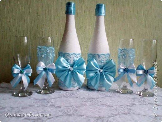 бутылки и фужеры для молодых фото 1