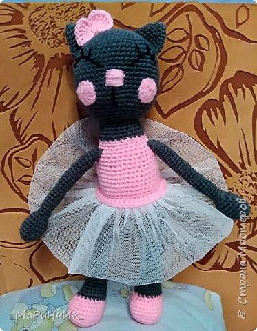 Кошечка - балерина, связана по схеме: https://amigurum.ru/2016/06/koshka-balerina.html. фото 1
