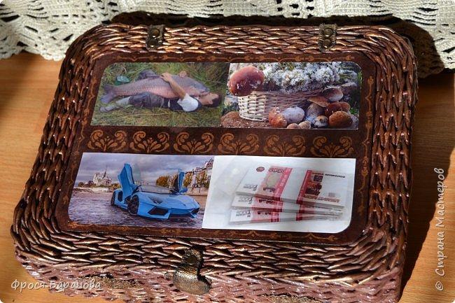 """Здравствуйте, дорогие жители Страны Мастеров! Давно ничего не показывала - лето, период садово-огородных работ. Но, иногда, выбирала время для своего любимого плетения. Плетенки еще получаются """"корявенькие"""", но я стараюсь! Первой покажу коробку для документов. Сплела ее в подарок молодому мужчине. фото 2"""