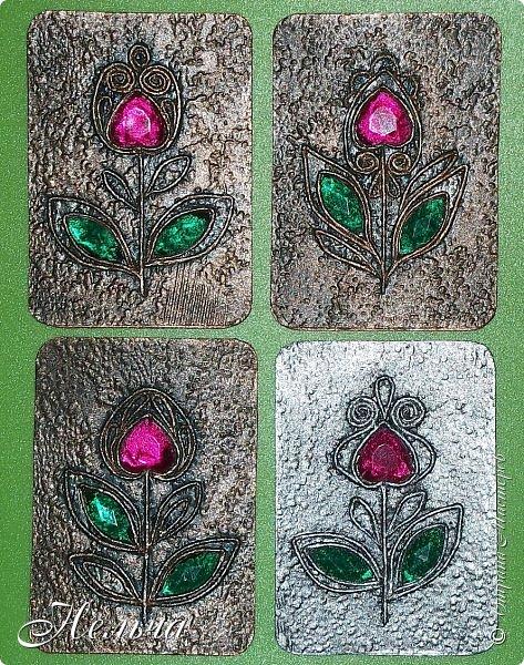 """АТС мини - серия """" Драгоценный цветок"""" в технике пейп-арт Татьяны Сорокиной. Вся серия ушла на погашение долгов. фото 1"""