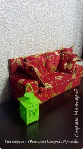 Привет страна, вот такой диванчик для своей куколки я смастерила. Постепенно начинаю обживать будущий дом, хотя сам дом ещё в далёком проэкте. Куколка ростом 38 см. Поэтому жилище надо не маленькое.... фото 2