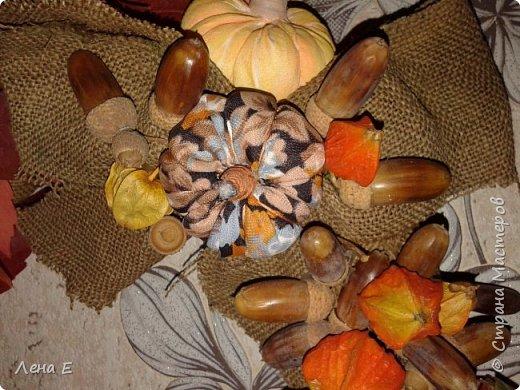 Использованы природные материалы - физалис, шиповник, каштаны, желуди, листья, тыквы текстильные, основа из мешковины фото 2