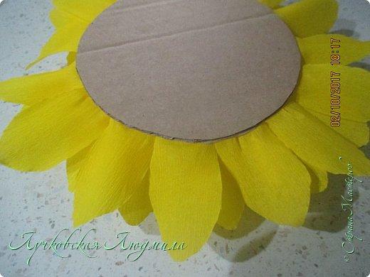 """Презент ко дню учителя """"сладкий подсолнух"""". Люблю подсолнухи, вот решила сделать цветок и подумала, что МК может кому пригодится, в СМ такого не встретила. фото 13"""