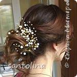 Еще немного моих работ))Украшения для волос- веточки в прическу. Веточка в прическу с золотыми бусинками, уехала к невесте)) фото 1