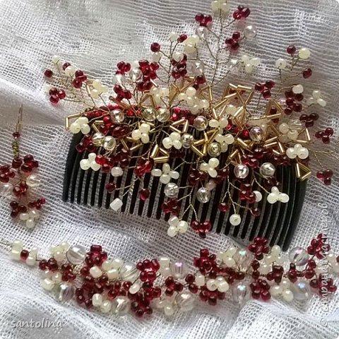 """Мой первый комплект:браслет, серьги и гребешок в прическу.Для плетения украшений использованы:ювелирная золотистая проволока стеклянные бусины ,белый и """"гранатовый"""" бисер.   фото 1"""