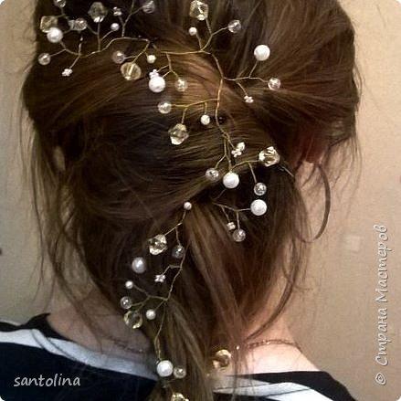Еще немного моих работ))Украшения для волос- веточки в прическу. Веточка в прическу с золотыми бусинками, уехала к невесте)) фото 13