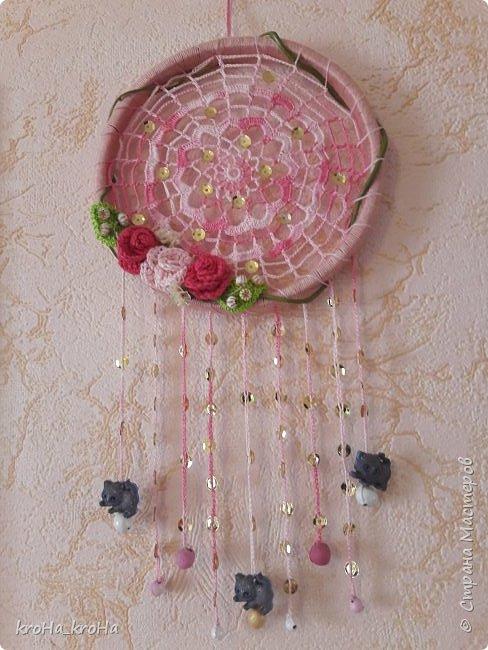 Продолжение темы с ловцами снов) сделала один, дочь заказала для себя еще..розовый! фото 2