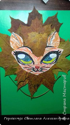 """Сегодня на уроке  трудового обучения  с ребятами 3 """"А"""" класса  работали  с осенними листьями по теме """" Осень в лесу""""   У всех ребят получились вот такие красивые работы!!! фото 4"""