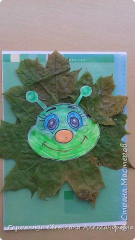 """Сегодня на уроке  трудового обучения  с ребятами 3 """"А"""" класса  работали  с осенними листьями по теме """" Осень в лесу""""   У всех ребят получились вот такие красивые работы!!! фото 2"""