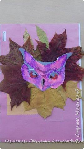 """Сегодня на уроке  трудового обучения  с ребятами 3 """"А"""" класса  работали  с осенними листьями по теме """" Осень в лесу""""   У всех ребят получились вот такие красивые работы!!! фото 3"""