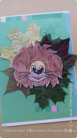 """Сегодня на уроке  трудового обучения  с ребятами 3 """"А"""" класса  работали  с осенними листьями по теме """" Осень в лесу""""   У всех ребят получились вот такие красивые работы!!! фото 5"""