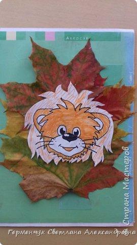 """Сегодня на уроке  трудового обучения  с ребятами 3 """"А"""" класса  работали  с осенними листьями по теме """" Осень в лесу""""   У всех ребят получились вот такие красивые работы!!! фото 6"""