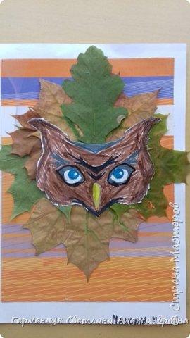 """Сегодня на уроке  трудового обучения  с ребятами 3 """"А"""" класса  работали  с осенними листьями по теме """" Осень в лесу""""   У всех ребят получились вот такие красивые работы!!! фото 7"""