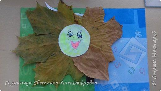 """Сегодня на уроке  трудового обучения  с ребятами 3 """"А"""" класса  работали  с осенними листьями по теме """" Осень в лесу""""   У всех ребят получились вот такие красивые работы!!! фото 8"""