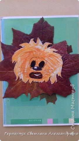 """Сегодня на уроке  трудового обучения  с ребятами 3 """"А"""" класса  работали  с осенними листьями по теме """" Осень в лесу""""   У всех ребят получились вот такие красивые работы!!! фото 10"""